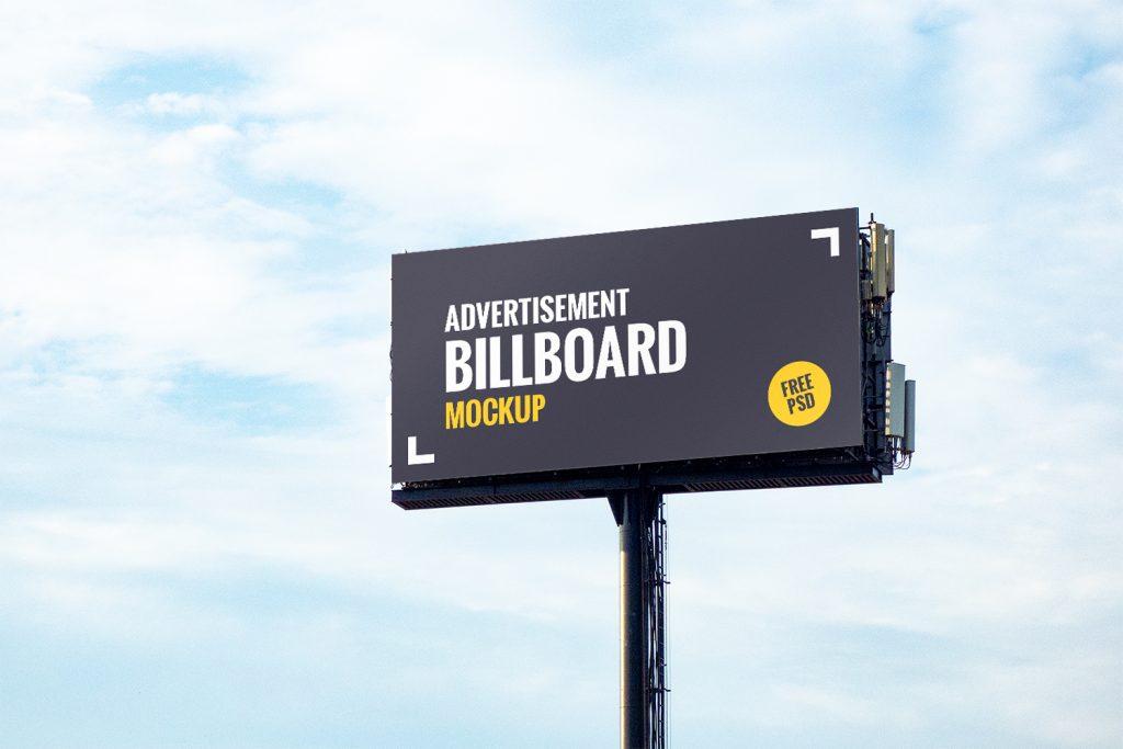 Free advertising billboard mockup PSD template
