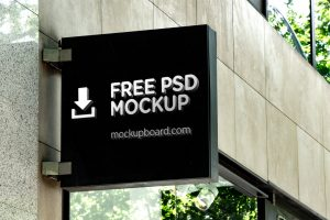 Outdoor sign free mockup in PSD