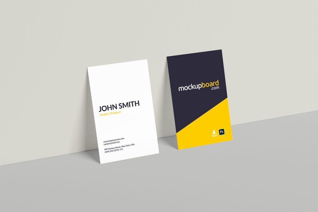 Free vertical business card mockup PSD file